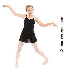 peu, spastic, danse, sur, coupure, danseur, girl, path., blanc, pauvrement