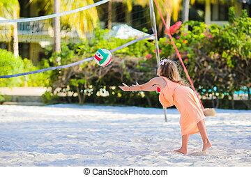 peu, sportif, voleyball, jeu, dehors, actif, flid, girl,...