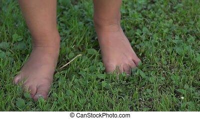 peu, stabilisé, girl, lawn., courant, motion., lent, prise vue., herbeux, gimbal, arrière-cour, pieds, été, nu, herbe, vert, pieds nue, enfant