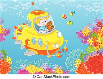 peu, submariner, récif