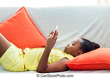 peu, tablet., pose, divan, africaine