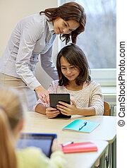 peu, tablette, école, pc, girl, prof