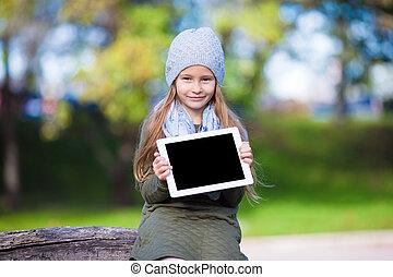 peu, tablette, ensoleillé, automne, pc, dehors, girl, adorable, jour
