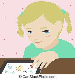 peu, tablette, illustration, numérique, girl, dessin