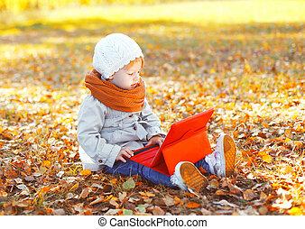 peu, tablette, séance, automne, pc, enfant, utilisation, jour