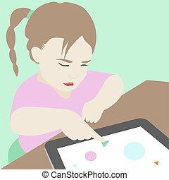 peu, tablette, usage, illustration, apprentissage, numérique, girl