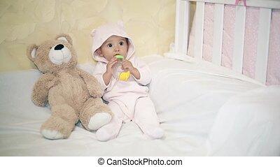 peu, teddy, couverture, séance, ours, suivant, bébé, blanc