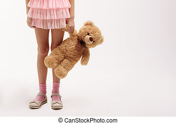 peu, teddy, garder, ours, enfant femelle