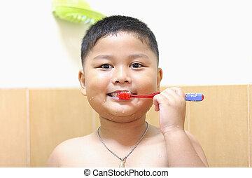 peu, teeth., garçon, brossage, personnel, hygiene.