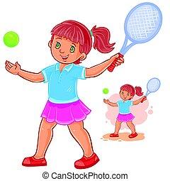 peu, tennis, illustration, vecteur, girl, jouer