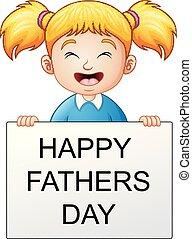 peu, texte, pères, tenue, girl, bannière, jour, heureux