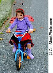 peu, tour vélo, girl, heureux