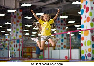 peu, trampoline, saut, girl, excité, photographié