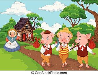 peu, trois, cochon, cochons, mère, dessin animé