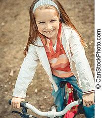 peu, vélo, girl