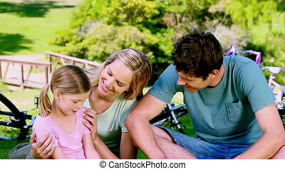 peu, vélos, couple, girl