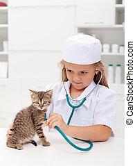 peu, vétérinaire, girl, jouer