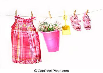 peu, vêtements, clothesline, girl, jouets