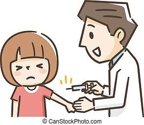 peu, vacciner, docteur, isolé, fond, girl, blanc