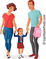 peu, vecteur, école, illustration, aller, parents, girl