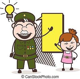 peu, vecteur, armée, illustration, planification, girl, homme, heureux