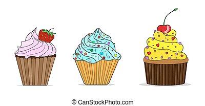 peu, vecteur, ensemble, petits gâteaux, délicieux