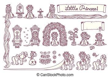 peu, vecteur, ensemble, princesse
