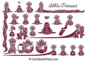 peu, vecteur, princesse, collection
