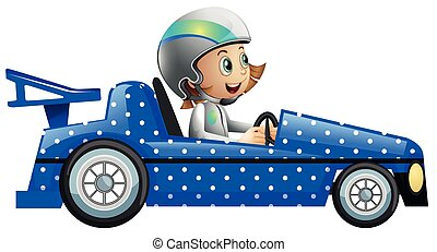 peu, voiture, fille polka, courses, point