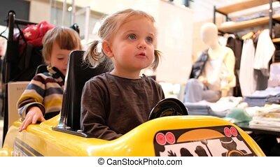 peu, voiture, jouet, girl, conduite