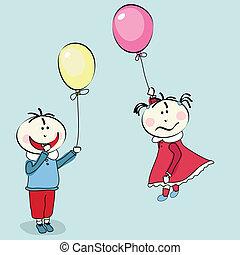 peu, voler, balloon, girl