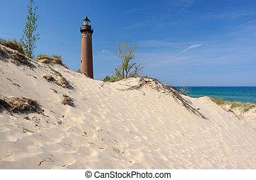 peu, zibeline, point, phare, dans, dunes, construit dans,...