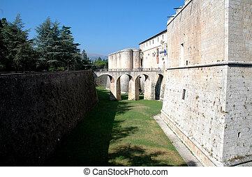 pevnost, dávný, itálie, 2
