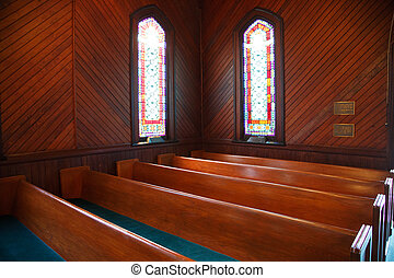 Pews and Stained Glass in Church