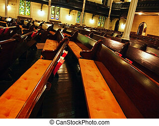 Pews Inside Large Church - Many, many rows of pew inside a...