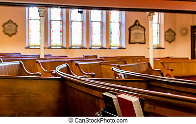 Pews with Stained Glass in Background