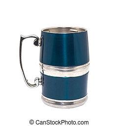 pewter beer mug decorated