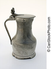 Pewter beer stein - Ancient pewter beer stein, isolated