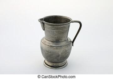 Pewter jug - Ancient pewter jug, isolated