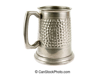Pewter old tankard on white