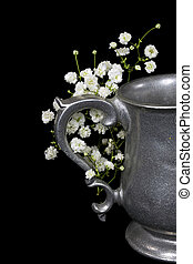 pewter pitcher with gypsophila - vintage pewter pitcher on...