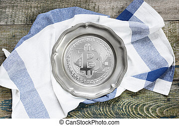 Pewter plate with bitcoin simbol