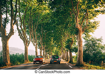Cars driving on a country road lined with trees. Bright sunlight at sunset in the evening. Cars on background of French landscape