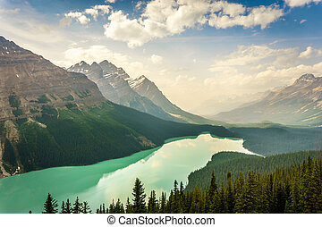 Peyto Lake in Canadian Rockies Mountains, Alberta, Canada - ...