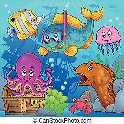 pez, 3, buzo, tema, esnórquel, imagen
