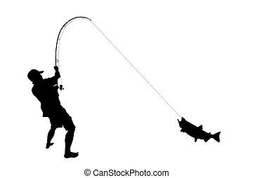 pez, agarrado, pescador
