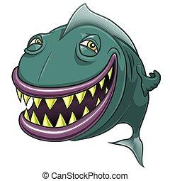 pez, aislado, blanco, sonriente, caricatura, feliz