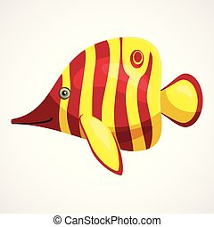 pez, amarillo, jabón, vector, acuario, caricatura, dibujo