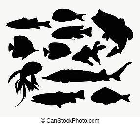 pez, animal, siluetas
