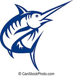 pez azul, aislado, ilustración, marlin, saltar, blanco